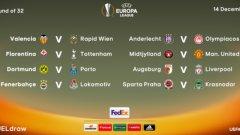Фиорентина срещу Тотнъм, Борусия (Дортмунд) срещу Порто и Виляреал срещу Наполи са сред големите сблъсъци на 1/16-финалите в Лига Европа