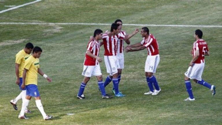 Парагвайците се радват на гола на Роке Санта Крус