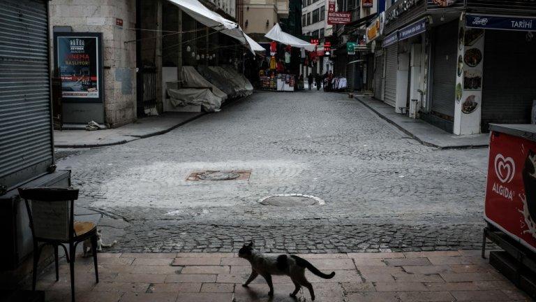Истанбул, с обичайните за него отктрити пазари, също изпразни улиците си след извънредните мерки. Снимка от 1 април.