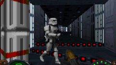 Star Wars: Dark Forces  Star Wars: Dark Forces е шутър от първо лице, разработен и издаден от LucasArts като част от серията Star Wars: Jedi Knight. Той излиза през 1995 г. за DOS и Macintosh, а година по-късно е портнат за PlayStation. Докато конзолната версия е критикувана за посредствена графика и лоша оптимизация, РС оригиналът получава много високи оценки и похвали за дизайна на нивата и технологичните си аспекти. Dark Forces използва енджина Jedi, създаден специално за нея. Той добавя функции като нива с няколко етажа и възможността да гледате нагоре и надолу, които са непознати дотогава във FPS жанра. Медиите от онова време сочат Dark Forces като естествената еволюция на Doom и триумф не само за феновете на прочутата вселена, но и на гейминга изобщо.