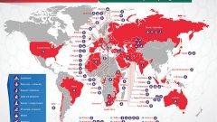 Карта на засегнатите страни