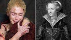 """Церсей/Джейн Шор  Унижението, на което е подложена Церсей в последния епизод от сезона на """"Игра на тронове"""", е добре познато наказание в Средновековна Европа. Джейн е любовница на крал Едуард Четвърти и е принудена да извърви похода на срама през 1483 г., след като Ричард Трети идва на власт."""