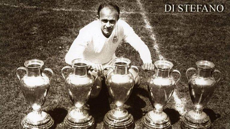 """Звездният Реал с Ди Стефано и Пушкаш  През 50-те години под ръководството на своя президент Сантяго Бернабеу """"кралския клуб"""" става световна футболна институция, каквато впрочем е и до днес. Почти перманентен първенец в Испания, Реал печели пет пъти поред Купата на европейските шампиони между 1956 и 1960 г. Връх на всичко е петият финал срещу Айнтрахт, изигран блестящо пред рекордните за всички времена 127 621 зрители на стадион """"Хемпдън парк"""" в Глазгоу. Четири гола на Пушкаш и хеттрик на Ди Стефано носят победата със 7:3 във финала с най-много голове в цялата история на турнира. Но макар че и след това продължава да печели титли в Испания, Реал вече губи европейското си господство и за следващото десетилетие успява само още веднъж да триумфира като шампион на Стария континент. А след оттеглянето на Ди Стефано и Пушкаш отборът вече не е същият."""