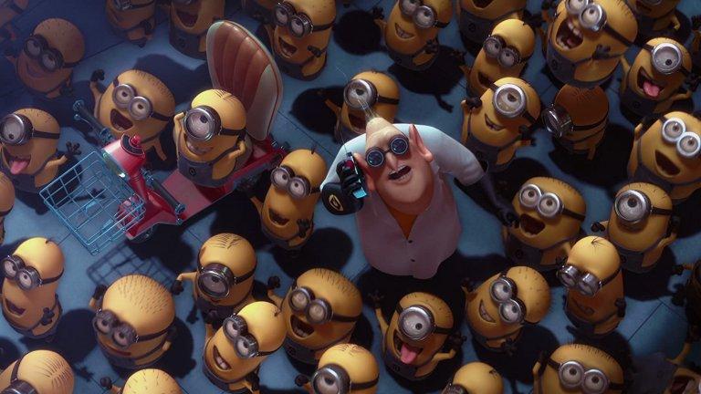 """""""Аз, проклетникът""""/ Despicable Me Пълнометражната анимация на Пиер Кофен и Крис Рено създава цял култ около миньоните, които първоначално са били замислени като по-големи и подобни на орки създания.  В крайна сметка обаче те се оказват жълти очилатковци, които говорят на измислен език (смесица между английски,  испански и френски), но за разлика от """"Стар Трек"""", където лингвист помага за измислянето му, тук всичко е просто импровизация."""