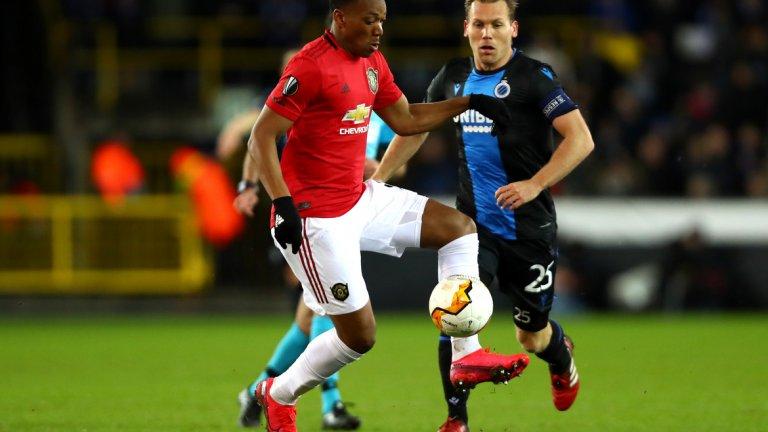 Марсиал се възползва от ужасно изпълнен тъч от страна на Брюж и вкара гола за Юнайтед