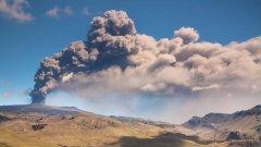 Исландският вулкан изхвърли вулканична пепел на височина от около 8,5 км в атмосферата. Той се активизира на 20 март и 25 дни по-късно изригна.