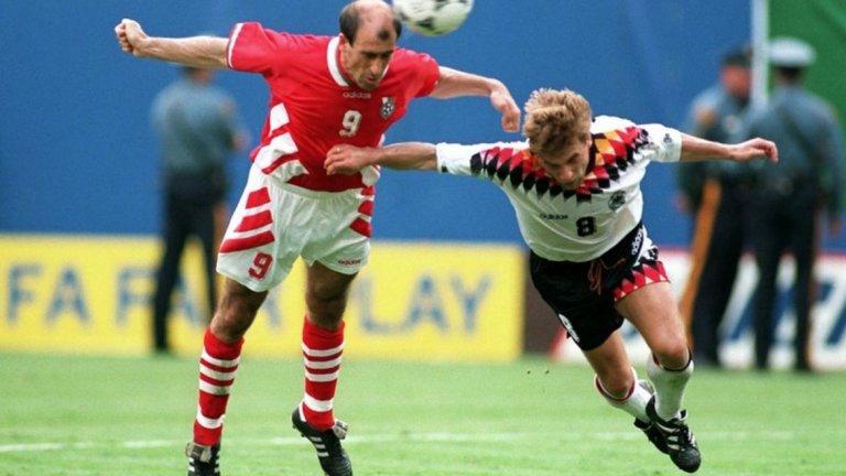 Голът с глава на Йордан Лечков за победата с 2:1 срещу Германия на четвъртфиналите на Мондиал 1994.