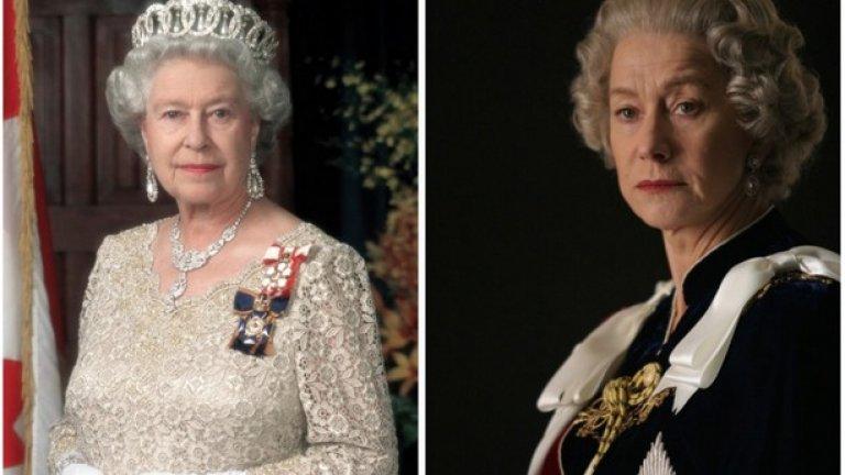 """Кралица Елизабет II и Хелън Мирън, """"Кралицата""""  През 2005 г. Хелън Мирън изиграва  кралица Елизабет І в едноименен телевизионния филм, но превъплъщението й в нейната дъщеря Елизабет ІІ в """"Кралицата"""" (2006) съвсем заслужено й донесе """"Оскар""""."""