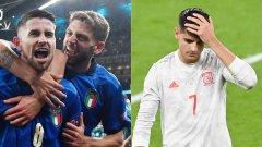Психиката на Мората не издържа при дузпите, докато непоклатимият Жоржиньо постави точката на спора и изпрати Италия на финал