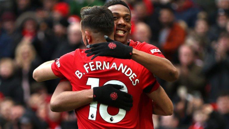 Бруно Фернандеш беше звездата на мача и вкара дебютен гол, после асистира на Марсиал и Грийнууд