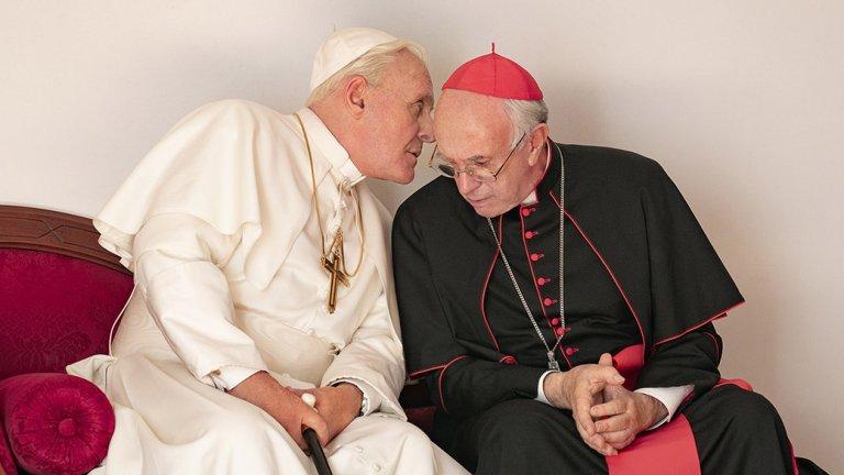 """""""Двамата папи"""" с Антъни Хопкинс и Джонатан Прайс."""