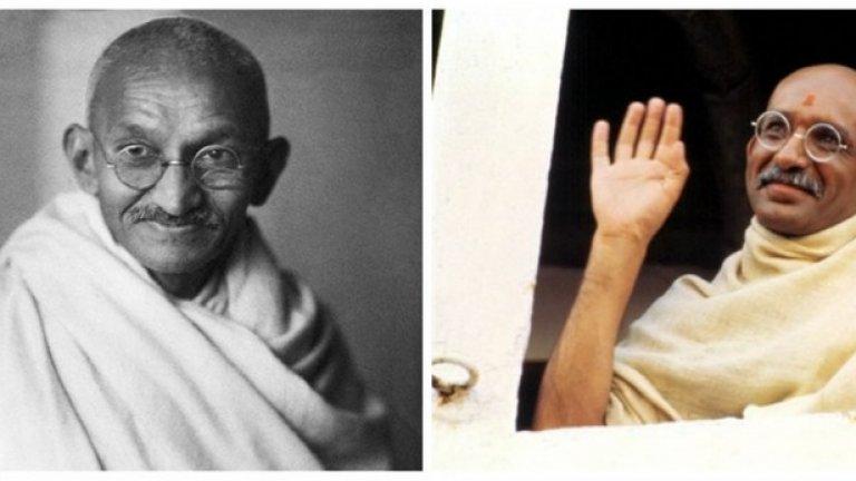 """Махатма Ганди и Бен Кингсли, """"Ганди""""  Филмът получава през 1982 г. 11 номинации за """"Оскар"""" и печели 8 златни статуетки."""