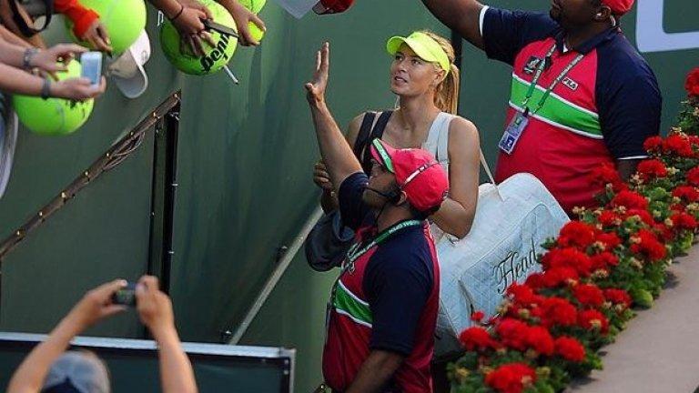 Автографи след победата на BNP Paribas Open