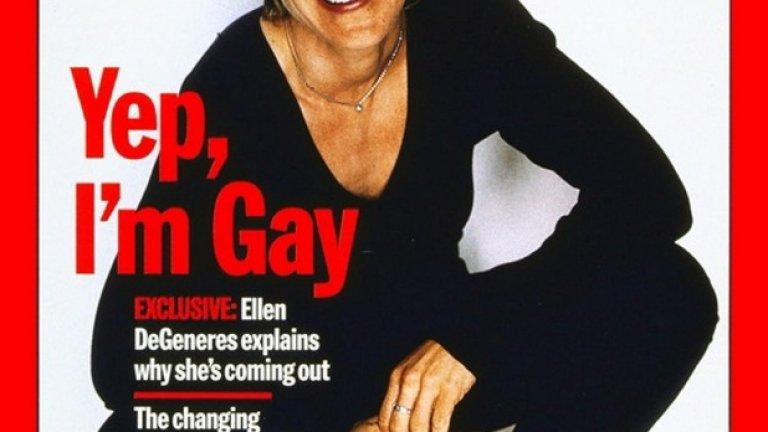 Корицата на сп. Time от април 1997 г., когато Елън се обявява за хомосексуална