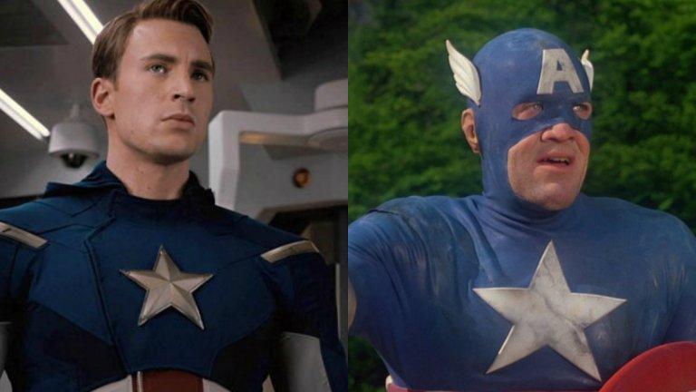 Крис Еванс е лицето, с което сме свикнали да свързваме Капитан Америка от първата му поява през 2011 г. Преди него обаче Мат Селинджър прави опит да влезе в костюма на супергероя с филм от 1990 г. Открийте разликите...
