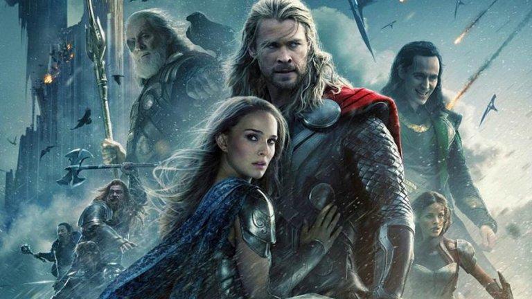 """Thor: Love and Thunder  Премиера: Ноември 2021 г.  Натали Портман използва сцената на ComicCon, за да анонсира, че ще се завърне в новия филм за Бога на гръмотевиците - при това тя ще вдигне в ръцете си чука на Тор. Режисьорът Тайка Уайтити не подсказва нищо повече от сценария, освен че ще бъде още """"по-мощен, по-шумен и по-бомбастичен""""."""