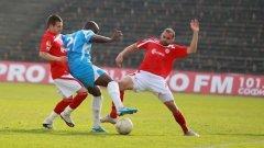 Пиер Мбемба от Академик отбеляза гол и получи контузия в срещата с ЦСКА