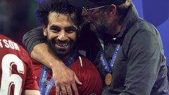 Щастливите Мохамед Салах и Юрген Клоп след победата с 2:0 над Тотнъм във финала на Шампионската лига