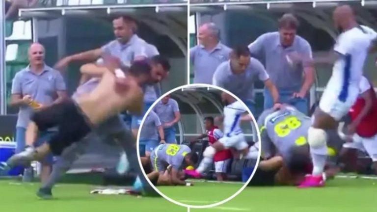 Лудост в Бразилия: Играч ритна нахлул фен в главата, безредици по трибуните (видео)