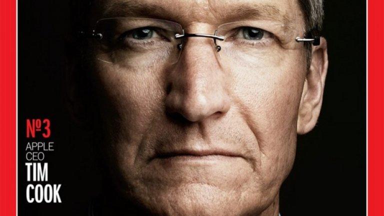 """През 2012 Тим Кук става един от подгласниците в класацията на сп. Time """"Човек на годината"""". В текста за него списанието го описва като диаметрална противоположност на предшественика си Стив Джобс.  """"Той не прилича на CEO-то на Apple, той е повече като някой от продуктите на компанията: тих, спретнат,грижливо подреден и в същото време странно приканващ и излъчващ топлина,"""" описва го Time"""