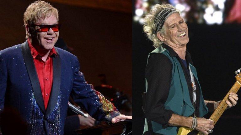 """Кийт Ричардс срещу Елтън Джон  Няма ясна представа откъде идва точно конфликта между двамата, но и двамата не пестят обидните квалификации един за друг. Китаристът на Rolling Stones определя Елтън Джон като """"готин, но превзет тип"""", който """"пее за мъртви блондинки"""" (визирайки трибютите на певеца за Мерилин Монро и принцеса Даяна"""".   От своя страна Елтън Джон е определял Кийт като """"стара маймуна с артрит, която излиза на сцената и се опитва да изглежда пак млада"""", наричал го е """"жалък"""" и """"посредствен"""" и дори е намеквал, че Rolling Stones могат да са значително по-добри, ако го бяха изхвърлили преди 15 години. Чак през 2015 г. другият китарист на Rolling Stones Рони Ууд успява да заровят томахавката, за да могат всички заедно да позират за снимка за наградите на GQ в Лондон."""