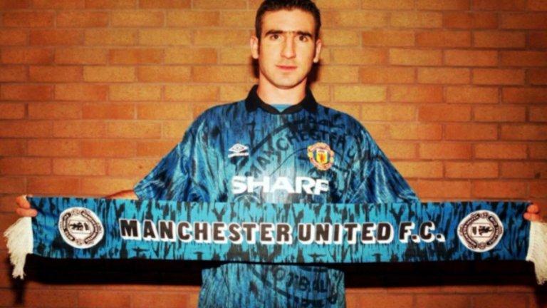 Младият Ерик Кантона като играч на Манчестър Юнайтед с един от най-противоречивите екипи на отбора в историята му.