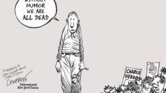 """""""Без хумор всички сме мъртви"""", пише карикатуристът Патрик Чапат след разстрела на колегите си от Charlie Hebdo. Няколко години по-късно NYT доброволно реши да се откаже от платформата за публикуване на политически карикатури."""