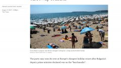 "Таймс публикува материал, озаглавен: ""Български националист обяви война на шумните туристи""."