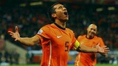 Джовани ван Бронкхорст се радва на гола си от над 30 м на полуфинала срещу Уругвай