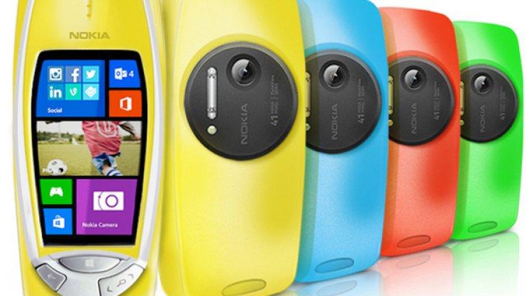 10. Заради тази първоаприлска шега Lumia и 3310 - 2 в едно, 41 MP камера, Windows, тъчскрийн, здрав панел и трите симпатични бутона долу. Щеше да е перфектният телефон, ако не беше само първоаприлска шега на комапанията.