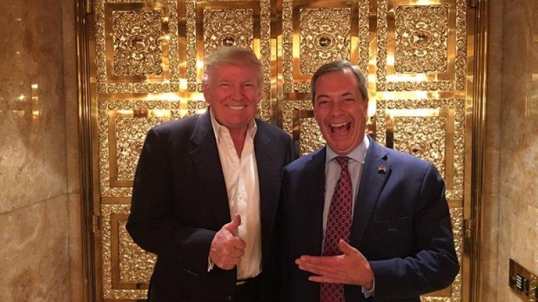 """""""За мен беше чест да се срещна с Доналд Тръмп. Той беше спокоен и изпълнен с добри идеи. Убеден съм, че ще бъде добър президент"""", написа Найджъл Фараж в Twitter на 13 ноември, няколко дни след победата на Тръмп"""