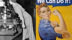"""Вдясно: плакатът на Джей Хауърд Милър """"Можем да го направим"""", произведен за Westinghouse.   Вляво: Снимката на Норма Паркър Фрейли от 1942 г., за която се смята, че е първообраз на Милър"""