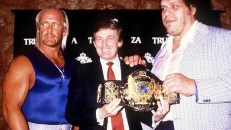 Доналд Тръмп с Хълк Хоугън и Амдре Гигантът