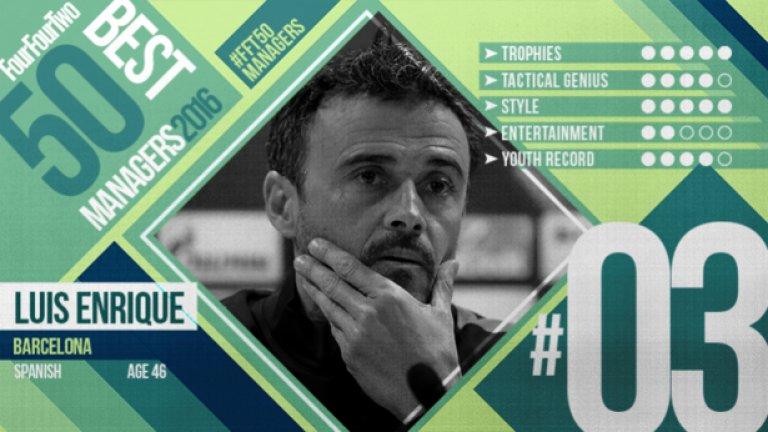 №3 Луис Енрике (Барселона), испанец, 44 г. Определят го като студен, дистанциран и рязък, но Луис Енрике постепенно се превръща в явление в треньорската професия. На няколко пъти успя да потуши скандали и да преодолее миникризи в Барселона, което категорично говори и за качествата му на психолог, заобиколен от суперзвезди. През 2011-а бе назначен за наставник на Рома и римляните виждаха в негово лице дългосрочен вариант за треньорската си скамейка, но въпреки че се радваше на одобрение сред тифозите, бе освободен след само един сезон във Вечния град. На 8 юни 2013 г. Луис Енрике бе назначен за старши треньор на Селта и се задържа при галисийците също само една година. Веднага след това пое Барселона и за две години постигна безброй успехи - две титли, две купи на Испания, Шампионската лига, Суперкупата на Европа и световна клубна титла.