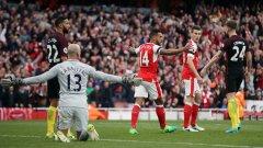 Арсенал на два пъти навакса изоставане срещу Сити. Без победител в дербито
