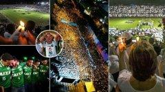 """45 хиляди запалянковци на Атлетико се стекоха на клубния стадион """"Атанасио Хирадот"""", облечени в специални бели възпоменателни фланелки."""