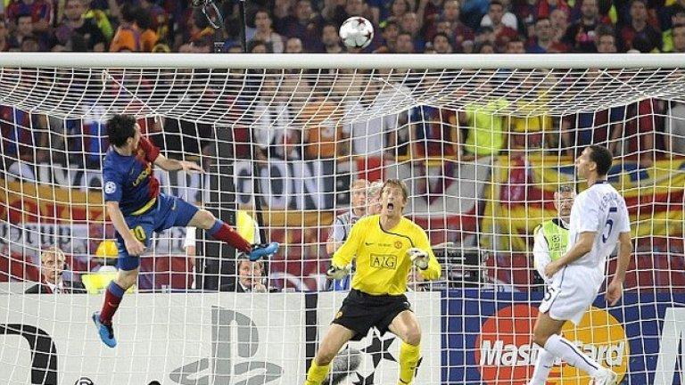 Лионел Меси е недостижим дори и във въздуха в първия финал срещу Юнайтед през 2009-а