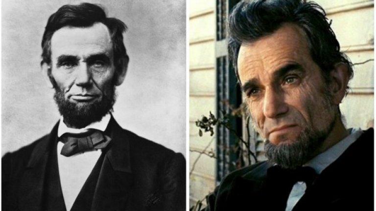 """Ейбрахам Линкълн и Даниел Дей-Луис, """"Линкълн""""  През февруари 2013 година Линкълн печели два Оскара за най-добри декори и най-добър актьор в главна роля за Даниъл Дей-Луис.[2] Филмът е и изненадващ финансов успех, като събира приходи от над 200 милиона долара в световен мащаб."""