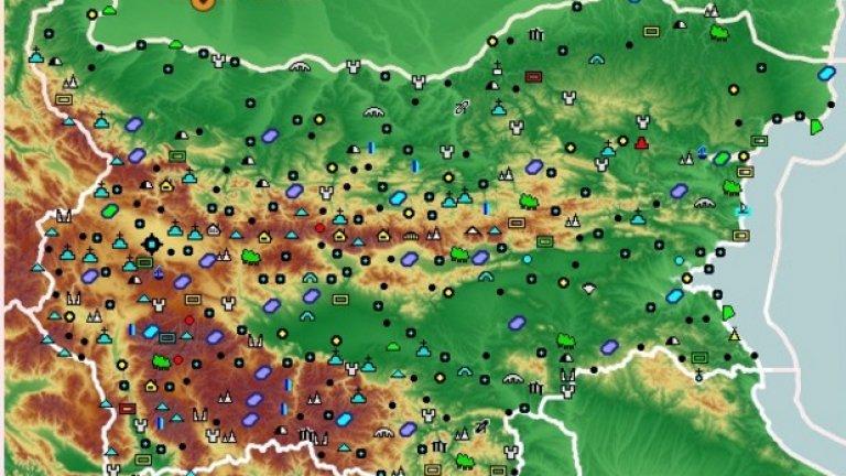Така изглежда интерактивната карта в сайта