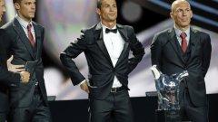 Само Роналдо (победител в тази класация миналата година) от тримата финалисти през 2014-а отново намери място сред десетимата претендети за наградата.