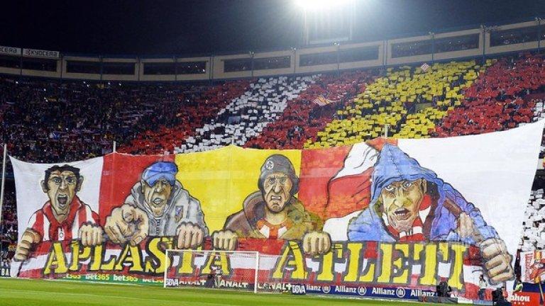 """""""Атлети ще ви разбият"""", пише на заканата от трибуните на """"Висенте Калдерон"""" преди реванша с Барселона за Купата на Краля. """"Атлети"""" - така наричат себе си ултрасите на Атлетико (Мадрид)."""