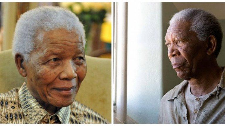 """Нелсън Мандела и Морган Фрийман, """"Непобедим""""  Морган Фрийман се срещна с бившия южноафрикански президент през 2006 г. Това е първата роля на Фрийман като Мадела, въпреки че и преди е получавал предложения да го изиграе на големия екран."""