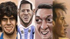 Карикатурите на аржентинския автор Мартин Аргуельо са голям хит покрай Мондиала, като английски, немски и южноамерикански медии ги ползват често. Тази е особено подходяща преди финала - Марадона, гледащият към славата му Меси, пречката пред тях Месут Йозил и профилът на Неймар - отсъстващият от финала бразилец...