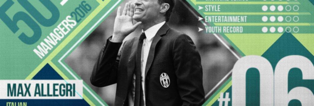 """№6 Масимилиано Алегри (Ювентус), италианец, 48 г. Пристигна като омразна за феновете фигура, но покори Италия на два пъти за две години и доказа способностите си особено при спечелването на втората. """"Макс вкара дисциплина и тактическата си философия, не мисля, че е възможно да сме искали повече от него от това, което постигна"""", казва генералният директор на Юве Бепе Марота. След първата си титла, Алегри се раздели с хора като Андреа Пиртло, Артуро Видал и Карлос Тевес. Доведе 10 нови имена на """"Ювентус Стейдиъм"""". След 10 мача """"старата госпожа"""" бе на 12-о място в класирането. Последваха 15 поредни победи и общо 73 спечелени точки от 75 възможни в оставащите 25 мача. Внимавайте, не го ядосвайте. Алегри е усмихнат и спокоен, докато отборът му не допусне грешка. Тогава е способен да свали всяка дреха и да крещи по играчите си напълно обезумял."""
