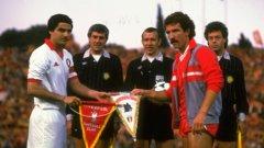 "Ди Бартоломей и Греъм Сунес преди финала на ""Олимпико"" на 30 май 1984 г."