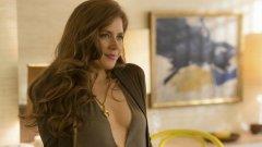 """American Hustle (""""Американска схема"""", 2013 г.) Номинирана за """"Оскар"""" за: най-добра актриса в главна роля; Печели """"Златен глобус"""" за: най-добра актриса в мюзикъл или комедия  Филмът с впечатляващ актьорски състав разказва за операция на ФБР от края на 70-те. Адамс е в ролята на Сидни Проусър - измамничка, която заедно с партньора си Ървинг (Крисчън Бейл) е разкрита от федерален агент и е принудена да сътрудничи на властите за разкриване на корупционна схема."""