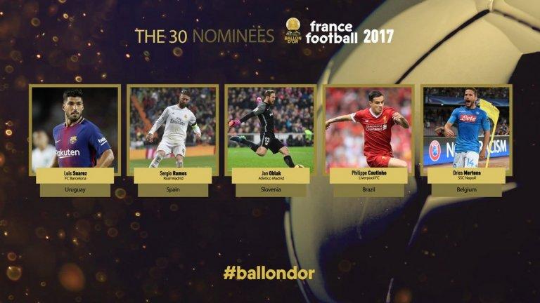 Вторите петима: Луис Суарес (Барселона и Уругвай), Серхио Рамос (Реал Мадрид и Испания), Ян Облак (Атлетико Мадрид и Словения), Филипе Коутиньо (Ливърпул и Бразилия) и Дрис Мертенс (Наполи, Белгия).