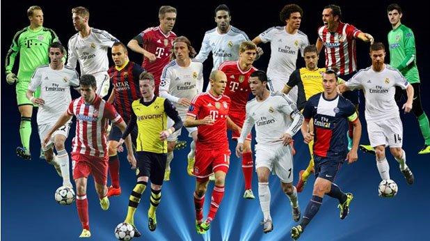 Това са 18-те, избрани от УЕФА в идеалния състав на сезона в Шампионската лига.