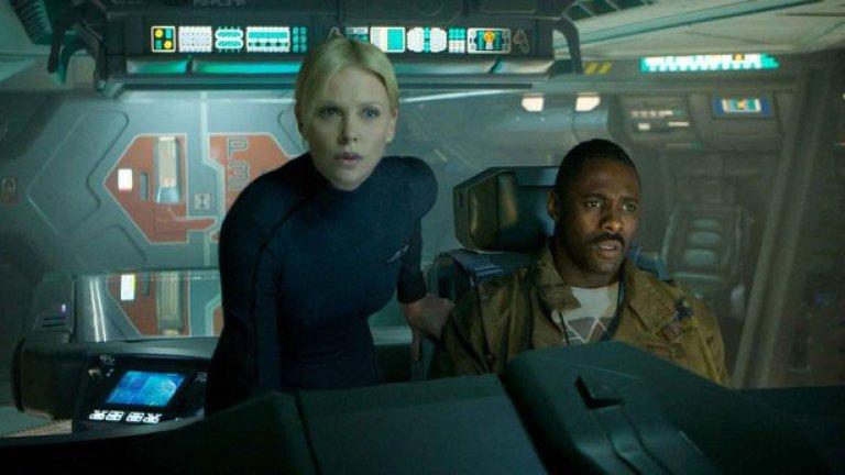 """Прометей 2012  Във филма: Когато става въпрос за режисьор като Ридли Скот, направил """"Пришълеца"""" и """"Блейд Рънър"""", интересните технологии никога не липсват. Действието на """"Прометей"""" се развива през 2093 г., когато екип е изпратен на далечна планета да търси създателите на човешката раса.   В реалността: Още сме доста далеч от повечето технологии във филма, но дроновете, сканиращи непознатия терен и очертаващи картата на новата планета, са съвсем реални. Базирани на LiDAR, дистанционна технология, изчисляваща дистанция и използваща светлина, за да отчита земния релеф, учени от Националната океанска и атмосферна администрация в САЩ използват дронове, за да създадат по-детайлни карти на бреговата линия. И Google използва технологията при правенето на самоуправляващите се автомобили."""
